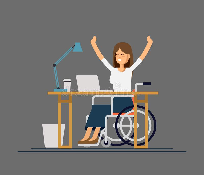 Disabled young woman in wheelchair working with computer. Online job and startup. Physical disability and society. Disabled young woman in wheelchair working vector illustration