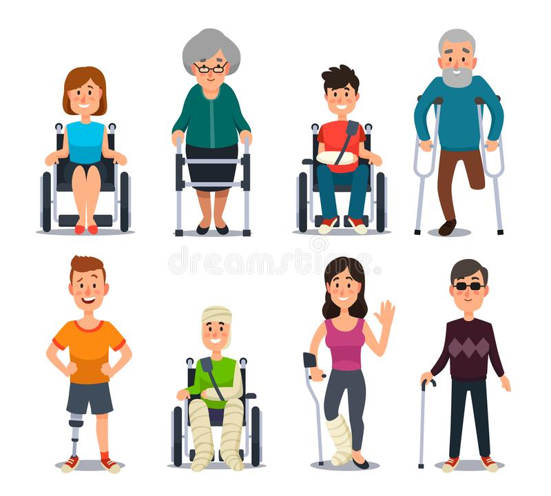 Disablement person. Blind disability people and elderly on crutches or wheelchair. Disabled character for medical vector vector illustration