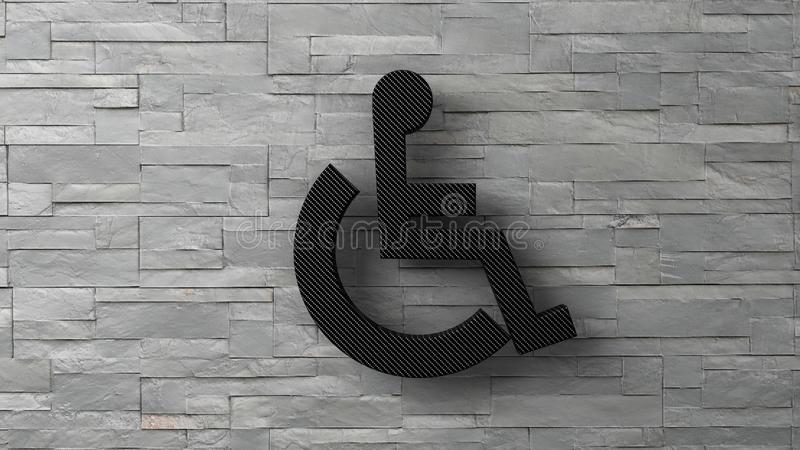 disabletecken för toalett 3d på den vita tegelstenväggen vektor illustrationer