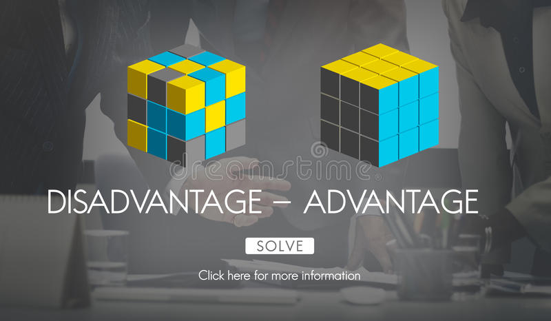 Disadvantage Advantage Comparison Decision Concept. Disadvantage Advantage Comparison Decision Choices royalty free illustration