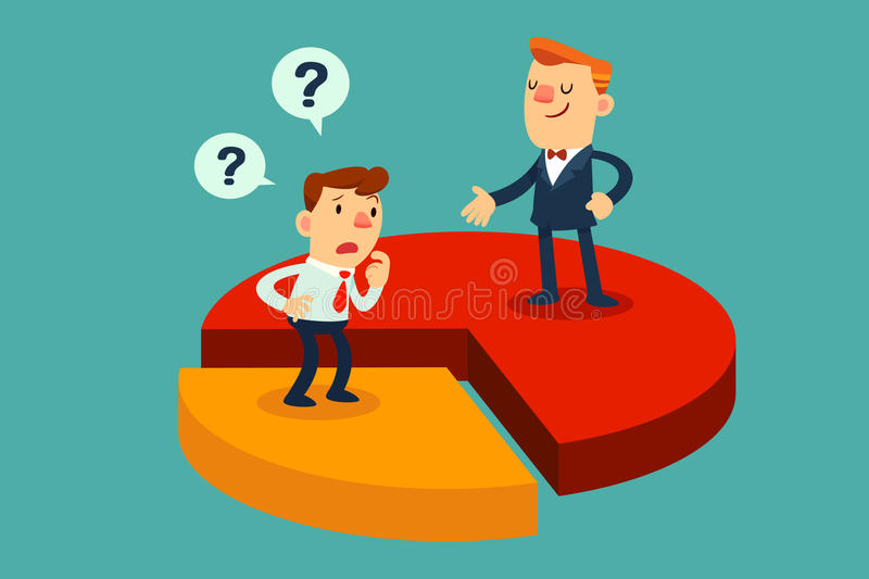 Disadvantage of business partnership. Illustration of businessmen on difference pieces of pie chart: concept of disadvantage of business partnership royalty free illustration