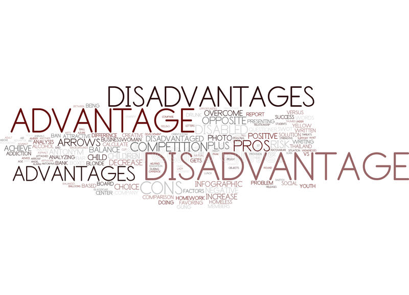 Disadvantage Word Cloud Concept. Disadvantage Text Background Word Cloud Concept stock illustration
