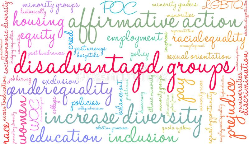 Disadvantaged Groups Word Cloud. On a white background royalty free illustration