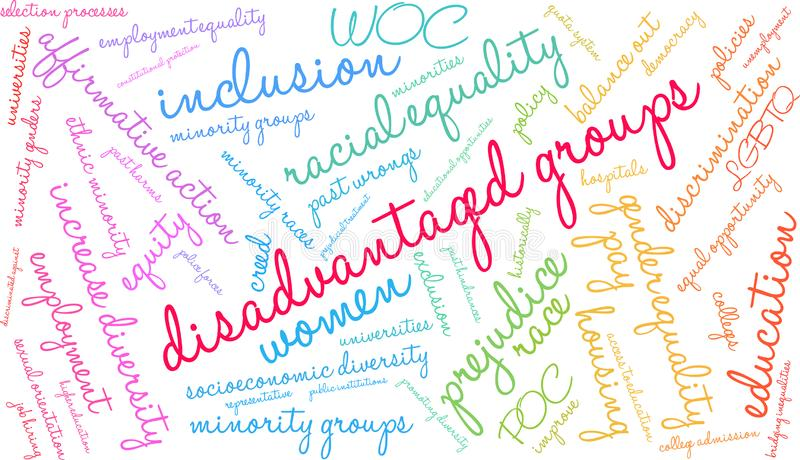 Disadvantaged Groups Word Cloud. On a white background vector illustration