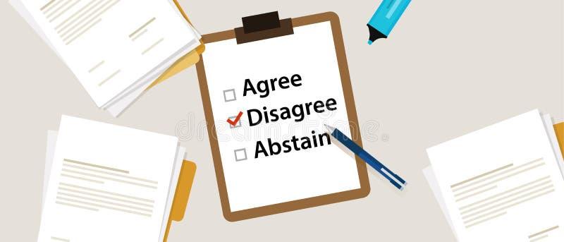 Disagree que seleciona um artigo na avaliação Os artigos para votar concordam, discordam, abstêm-se no papel com marca de verific ilustração do vetor
