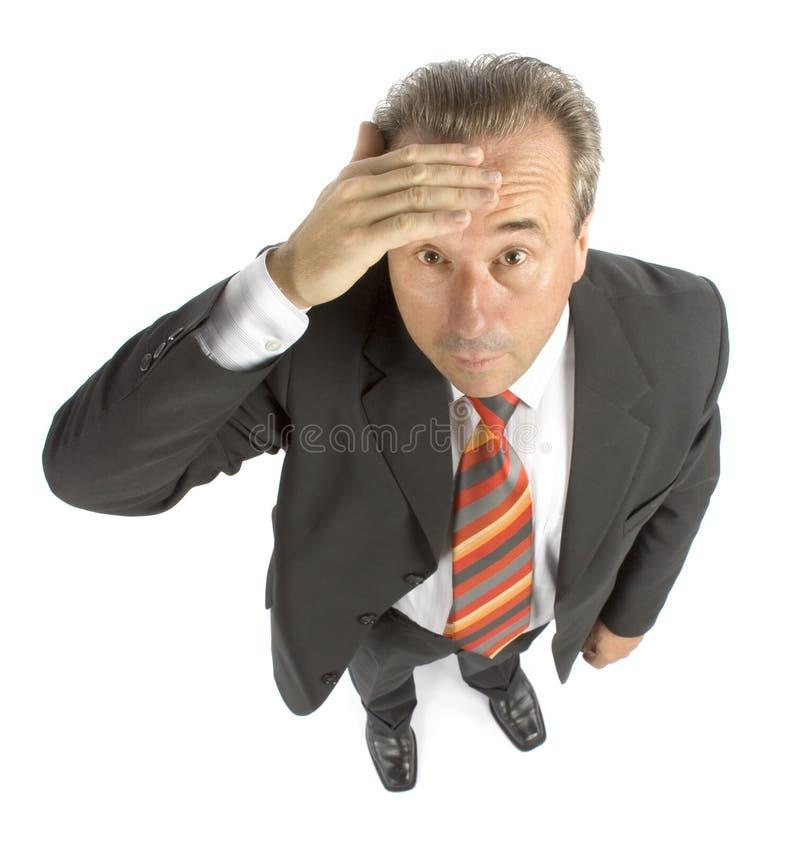 Disagreeably senior businessman stock image