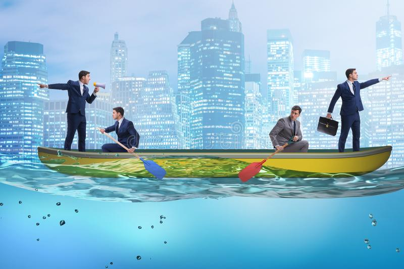 Disagreement concept with businessmen rowing in different direct. Ions royalty free stock photos