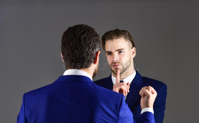 Disagreements in business concept. Boss and employee speaking at royalty free stock images