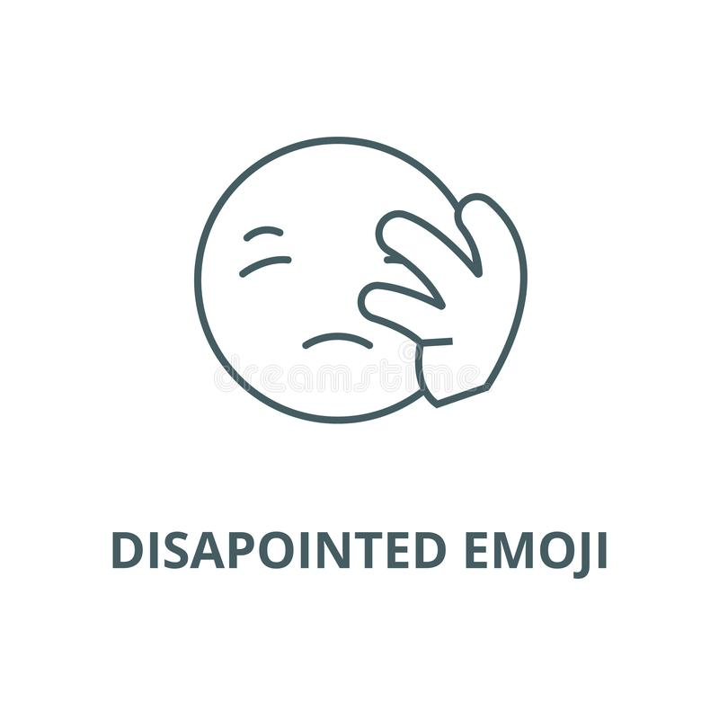 Disapointed emoji line icon, vector. Disapointed emoji outline sign, concept symbol, flat illustration. Disapointed emoji line icon, vector. Disapointed emoji stock illustration