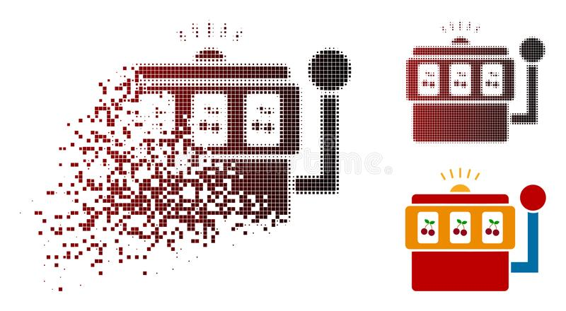 Disappearing Dot Halftone Slot Machine Icon. Slot machine icon in dispersed, pixelated halftone and undamaged entire variants. Particles are grouped into vector stock illustration
