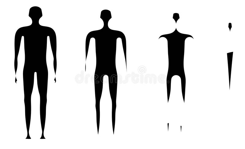 Disappearing man figure process. Abstract stock illustration