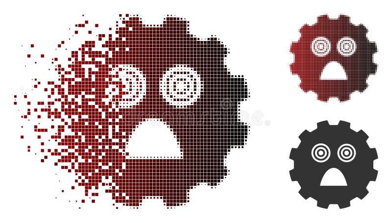 Disappearing Pixelated Halftone Afraid Smiley Gear Icon. Afraid smiley gear icon in fractured, pixelated halftone and undamaged whole variants. Elements are royalty free illustration