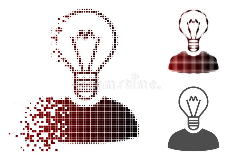 Disappearing Pixelated Halftone Bulb Inventor Icon. Bulb inventor icon in dissolved, pixelated halftone and undamaged whole variants. Particles are combined into stock illustration