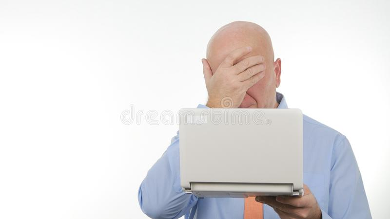 Disappointed Businessman Use Laptop Read Bad News and Gesticulate Upset.  stock image