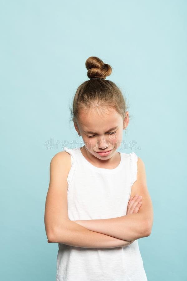 Disappointed crying hurt girl emotion expression. Disappointed sad crying little girl. emotion expression and feelings concept. offended hurt young child stock photos