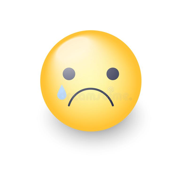 Disappointed emoji face. Crying vector cartoon smiley. Sad emoticon mood. vector illustration