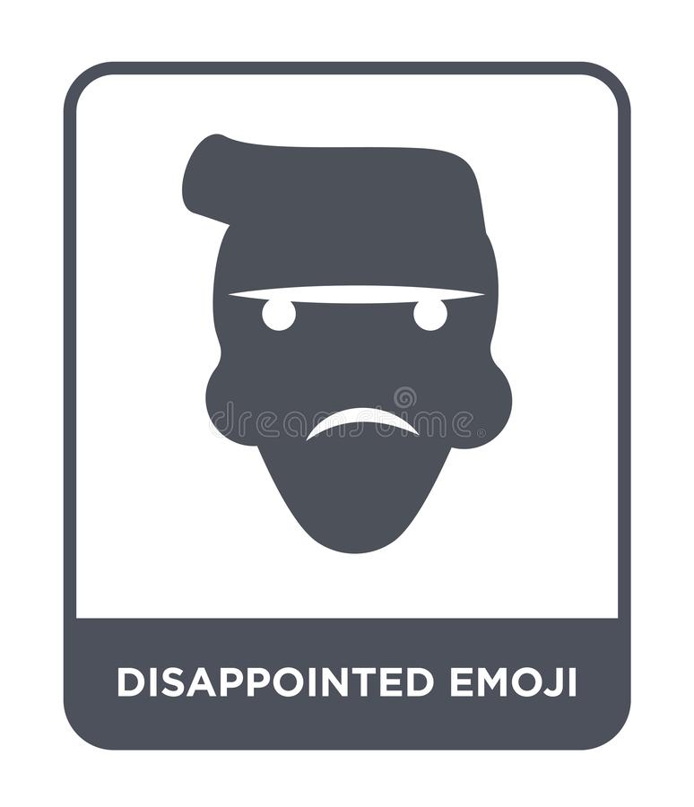 disappointed emoji icon in trendy design style. disappointed emoji icon isolated on white background. disappointed emoji vector royalty free illustration