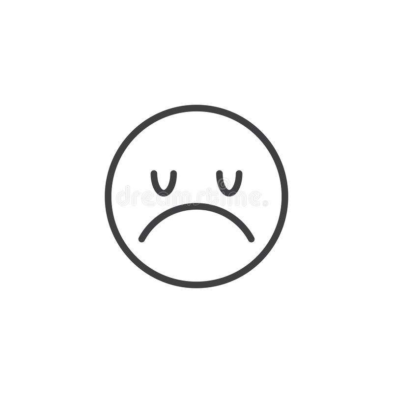 Disappointed Face emoji line icon. Sad smiley linear style sign for mobile concept and web design. Unhappy face emoticon outline vector icon. Symbol, logo stock illustration