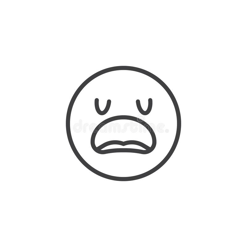 Disappointed Face emoji line icon. Linear style sign for mobile concept and web design. Confused Face emoticon outline vector icon. Symbol, logo illustration royalty free illustration