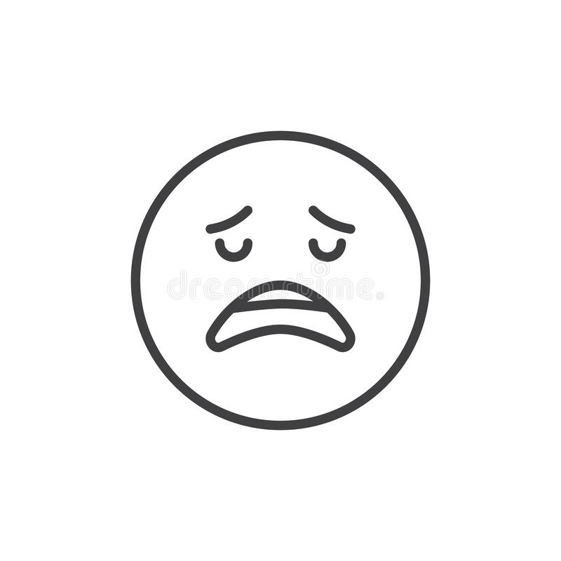 Disappointed face emoji outline icon vector illustration