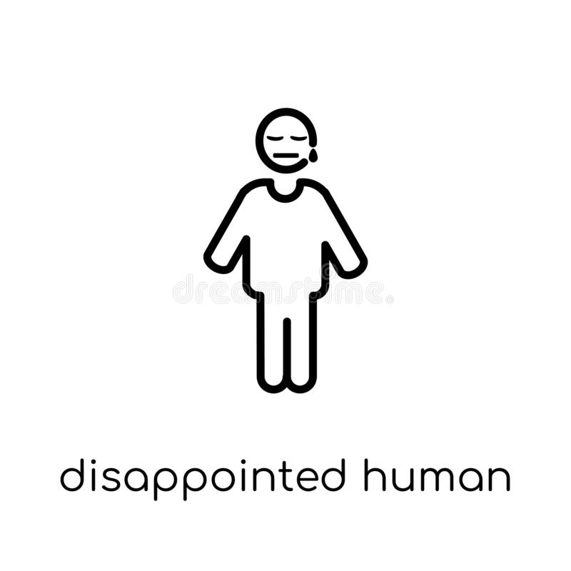 disappointed human icon. Trendy modern flat linear vector disappointed human icon on white background from thin line Feelings col stock illustration