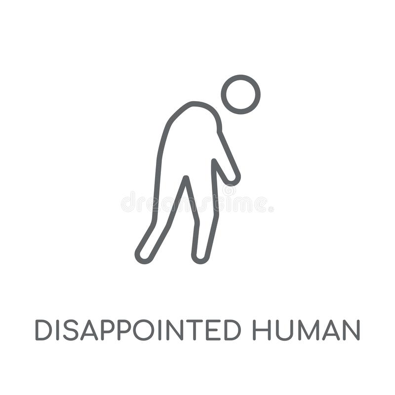 disappointed human linear icon. Modern outline disappointed huma royalty free illustration