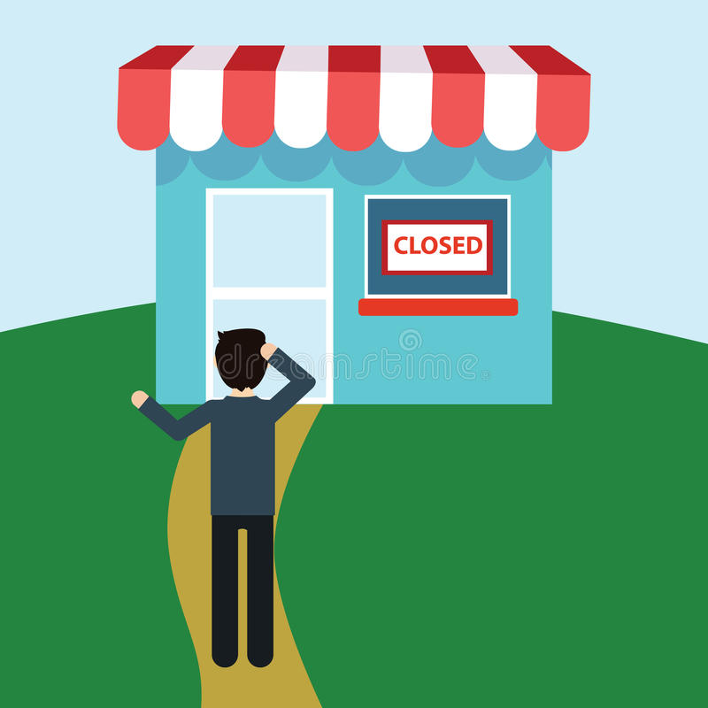 Disappointed Man In Front Of Closed Shop Stock Vector
