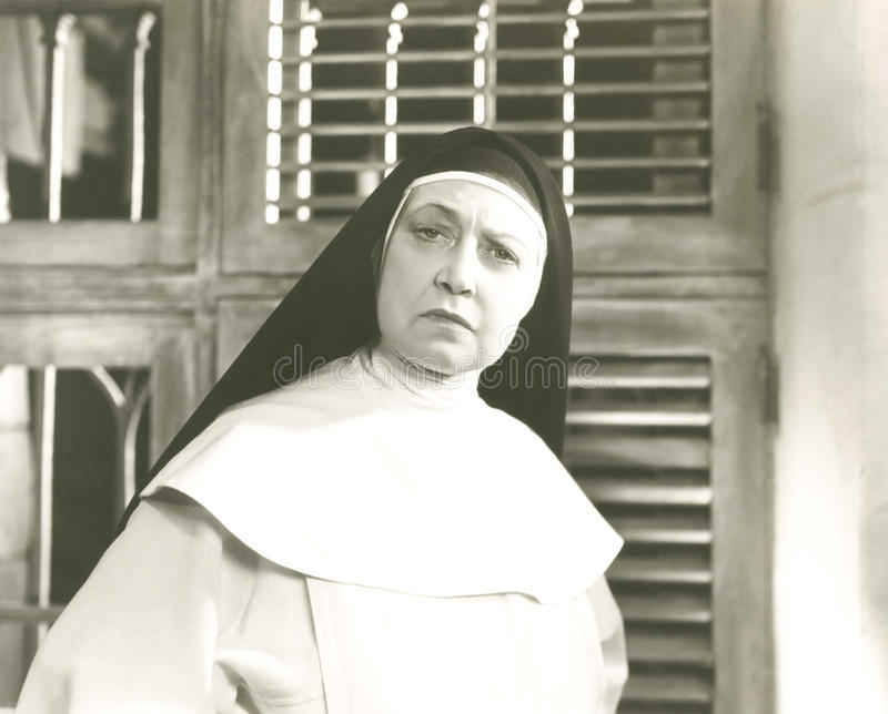 Disappointed nun royalty free stock photos