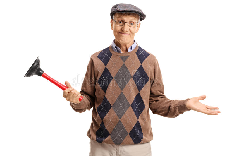 Disappointed senior holding a plunger. Isolated on white background royalty free stock images