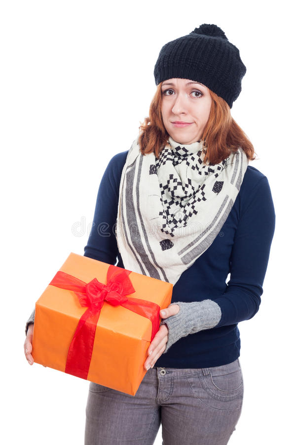 Disappointed woman with present stock photography