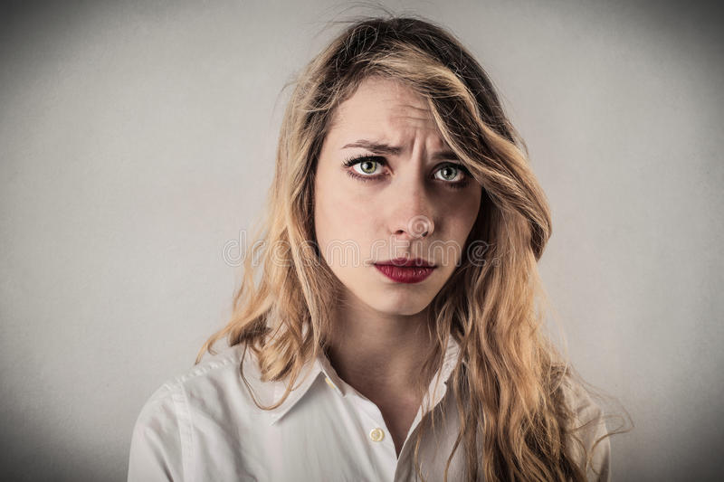 Download Disappointed young woman stock image. Image of white - 39503975