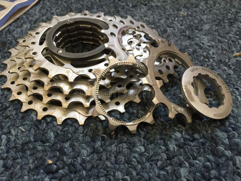 Disassembled and cleaned bicycle gears royalty free stock images