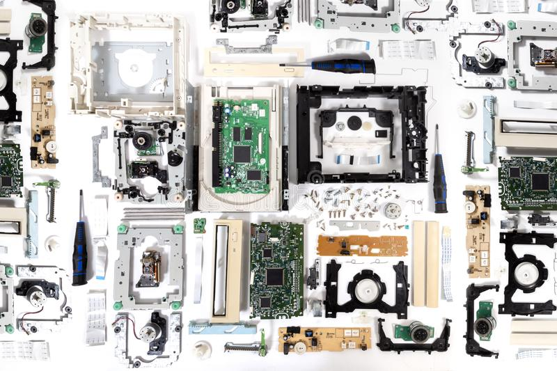 Disassembled dvd-rom drive stock photos