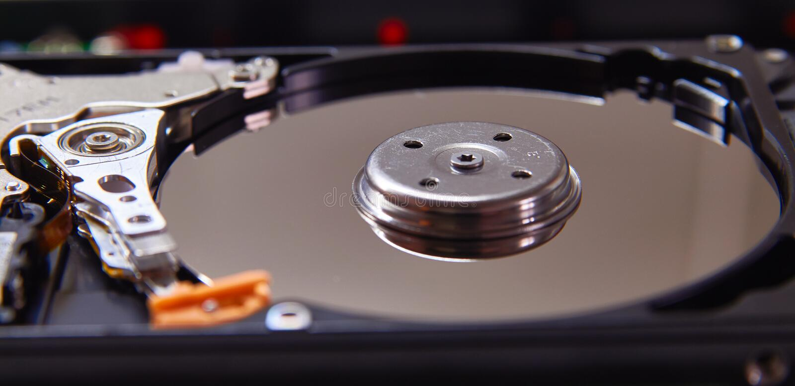 Disassembled hard drive from the computer. Part of pc, laptop stock photo