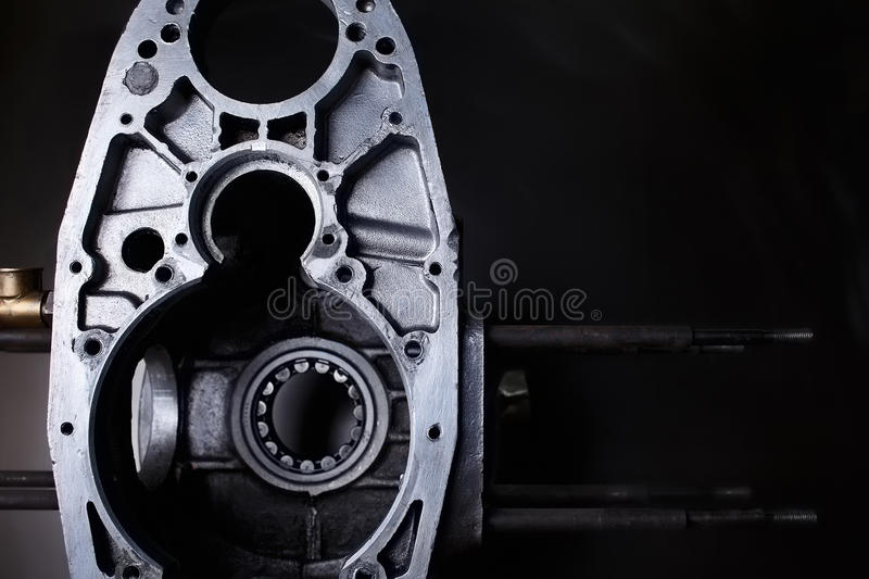 Disassembled opposing chopper engine copyspace. Disassembled opposing chopper engine with copyspace stock photos