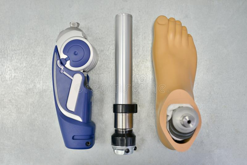 Disassembled Prosthetic Leg on Doctors Table royalty free stock photos