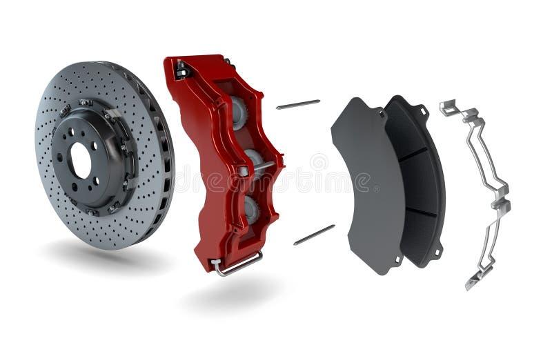Disassemblierte Bremsplatte mit rotem Tasterzirkel von einem Rennwagen lizenzfreie abbildung