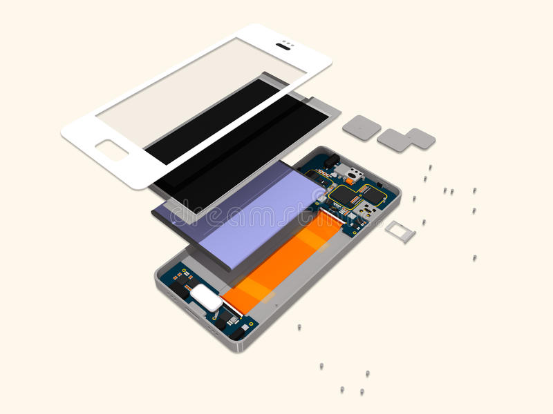 Disassembly of a modern touch phone. A 3D image of a modern touch phone disassembled to show the insides vector illustration