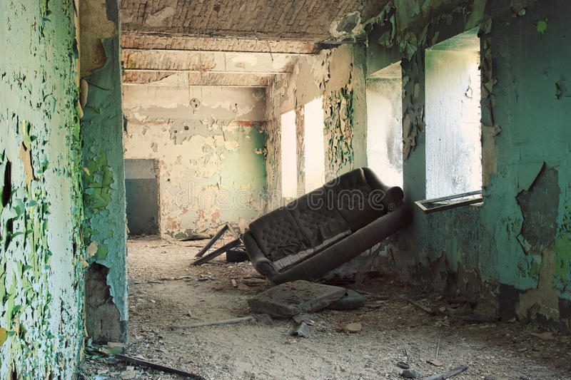 After disaster. Inside depopulated building after war royalty free stock image
