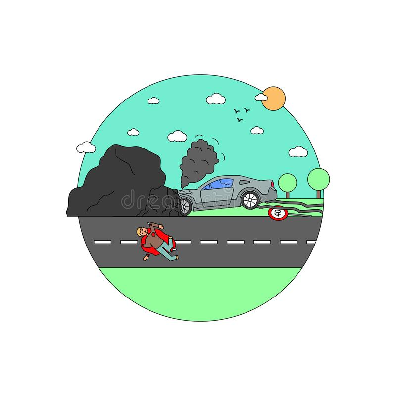 Disaster Accident Tragedy of Car Collision, Crash vector illustration