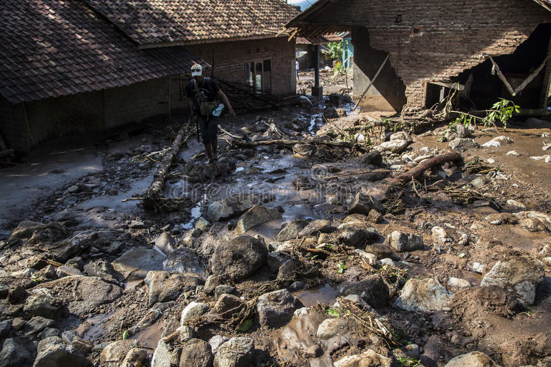 Disaster in Banten. Banten, 26 July 2016. A house destruct from heavy landslides and rock, arround 25 houses destroyed from the disaster. Village at Kalomberan stock photo