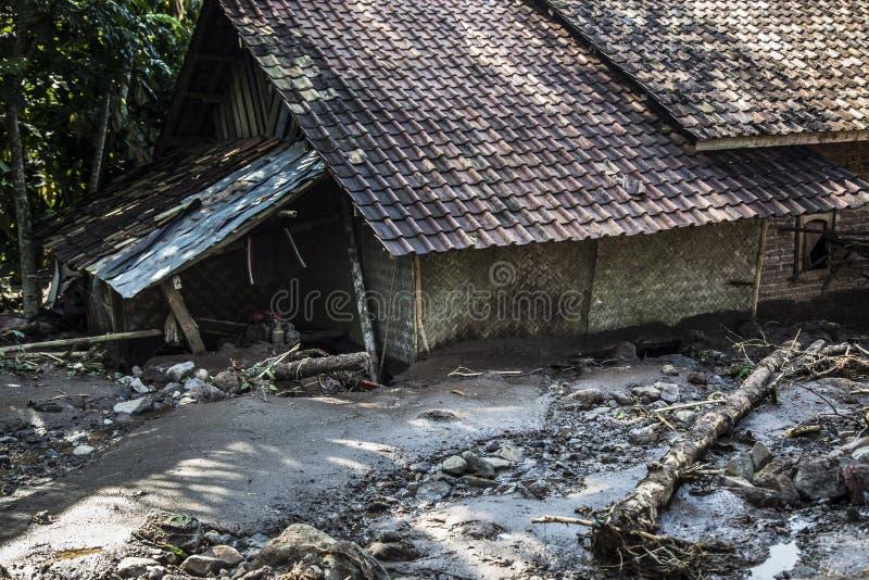 Disaster in Banten. Banten, 26 July 2016. A house tha covered with mud. Village at Kalomberan, Jumpari, Babakan, Pasir Menteng, Pasir Picung at Manca District royalty free stock images