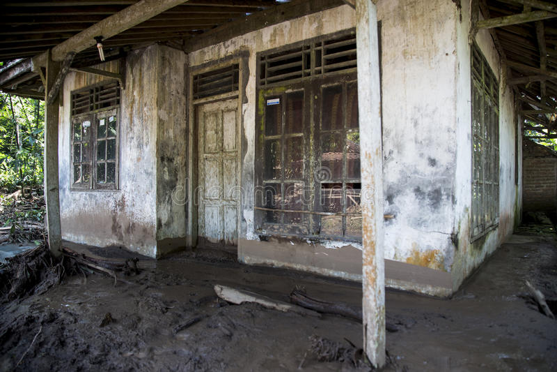 Disaster in Banten. Banten, 26 July 2016. A house tha covered with mud. Village at Kalomberan, Jumpari, Babakan, Pasir Menteng, Pasir Picung at Manca District stock image