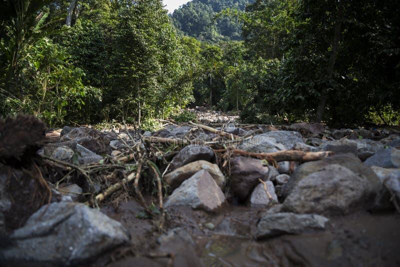 Disaster in Banten. Banten, 26 July 2016. Rocks near the village after landslide. Village at Kalomberan, Jumpari, Babakan, Pasir Menteng, Pasir Picung at Manca stock photos