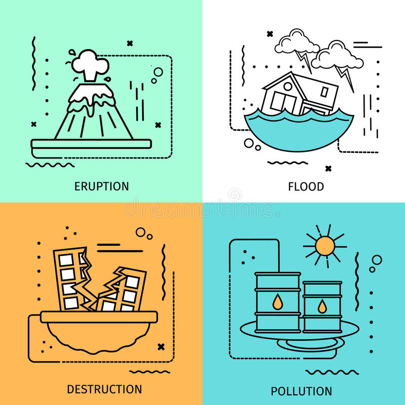 Disaster Damage Colored Icon Set stock illustration