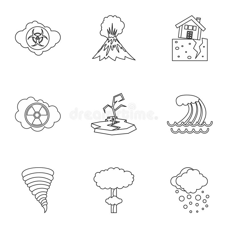 Disaster icons set, outline style. Disaster icons set. Outline illustration of 9 disaster icons for web royalty free illustration