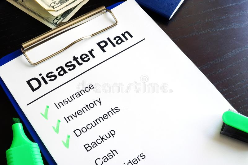 Disaster Plan. Disaster Plan on a table royalty free stock photo