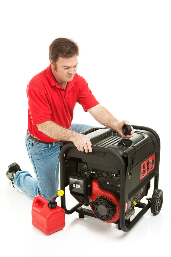 Download Disaster Preparedness - Checking Generator Stock Image - Image: 8222459