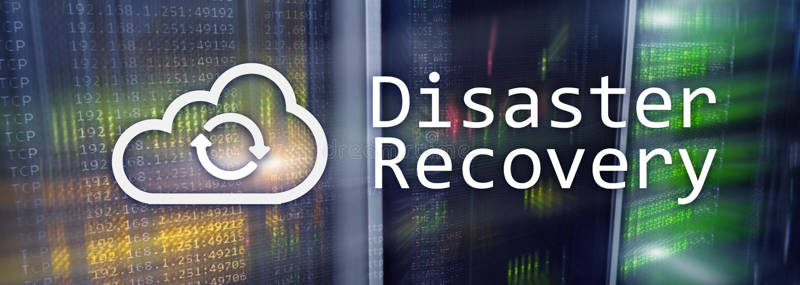 DIsaster recovery. Data loss prevention. Server room on background.  royalty free illustration