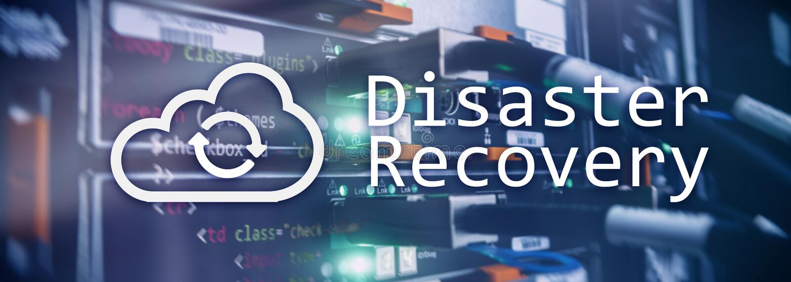 DIsaster recovery. Data loss prevention. Server room on background. DIsaster recovery. Data loss prevention. Server room on background stock illustration